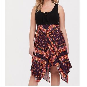 Black Scarf Print Knit to Woven Dress EUC